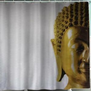 Image Is Loading Gold Buddha On White Background Bathroom Shower Curtain