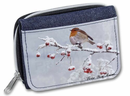 AB-R23lymJW Snow Robin /'Love You Mum/' Girls//Ladies Denim Purse Wallet Christmas