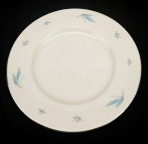 Syracuse China Celeste Dinner Plate White w/ Blue Leaves Platinum Trim