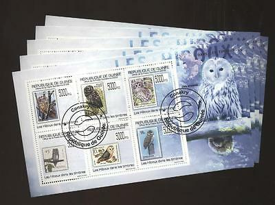 5x Cto Birds cto1205 Owl Small Lot Brilliant Guinea Stamp On Stamp