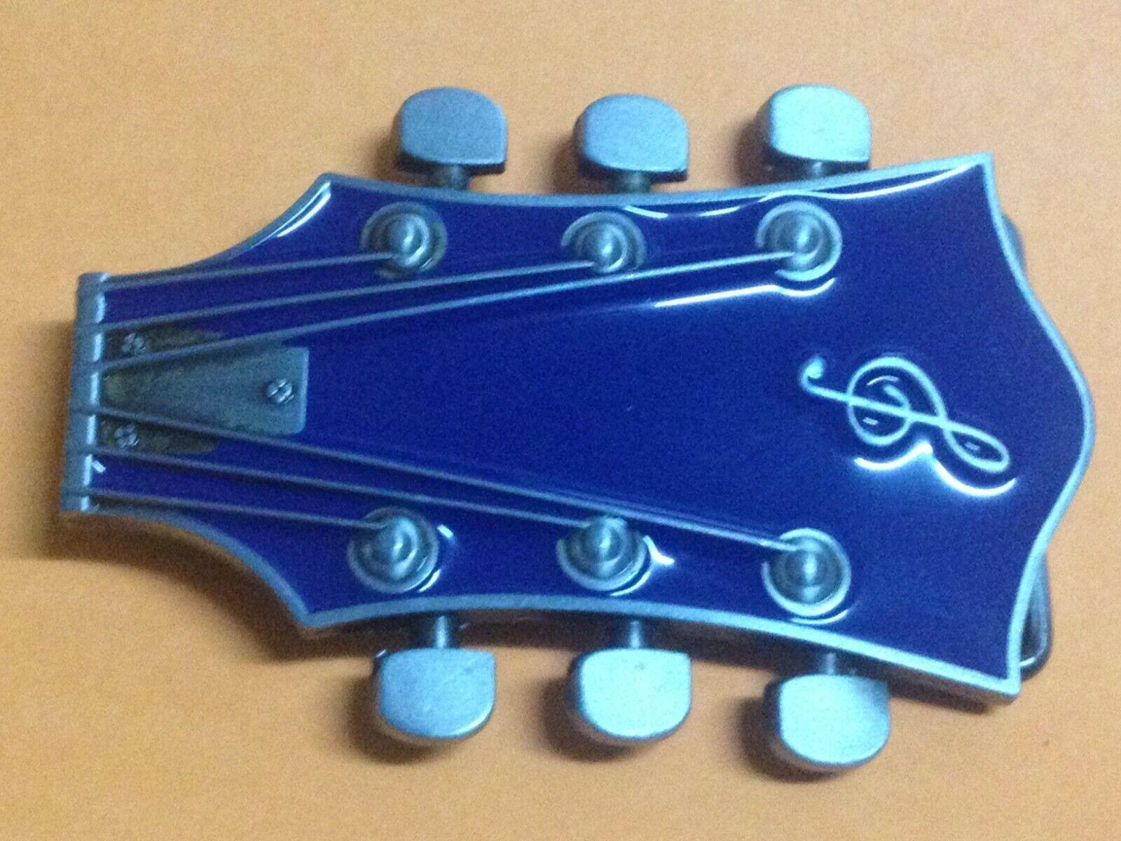 Neu Gürtelschnalle Gitarrenkopf E-Gitarre Vintage Style Buckle Tempel Belt Top