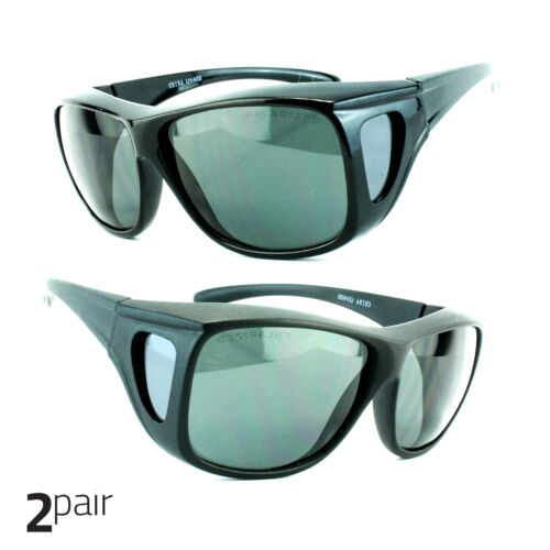 2 Pair POLARIZED cover put over Sunglasses wear Rx glass fit driving Large Black