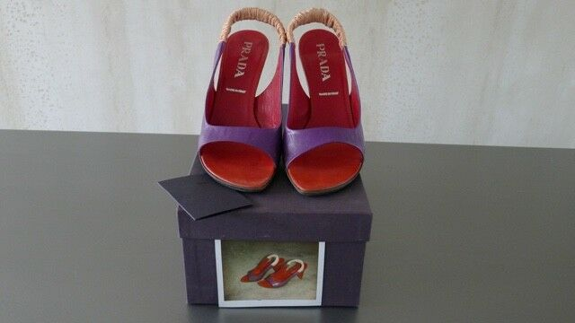 Prada purple & red sling-back heels – UK size 6 (EU 39) – SUPER ELEGANT