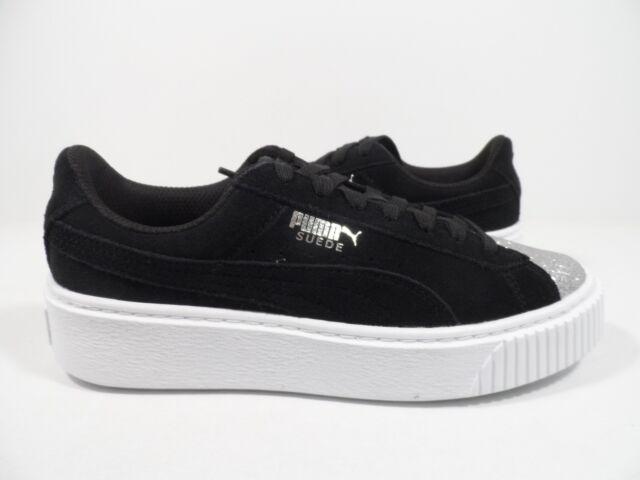 96e22f16d08a PUMA Suede Platform Glam Jr Kids Sneaker Puma Silver Puma Black Size 5.5