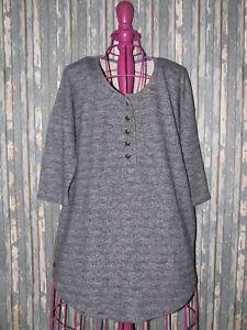 Soft-Surroundings-Women-039-s-Medium-Heather-Blue-Coin-Buttons-Pocket-Knit-Tunic-Top