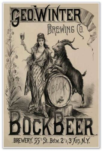 New York City circa 1900 24x36 Bock Beer Print Ad by George Winter Brewing Co