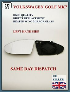 FITS VW GOLF MK7 2012-20 WING MIRROR GLASS + BACKING PLATE ASPHERIC HEATED LEFT