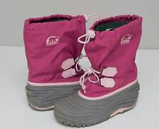 WOMENS/GIRLS SOREL SNOW BOOTS WATERPROOF WINTER PINK GREY UK3.5 EUR36