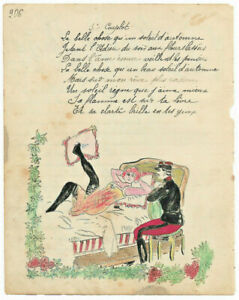 1906 military soldier manuscript lyrics O SOLE MIO (italian song) sexy drawing