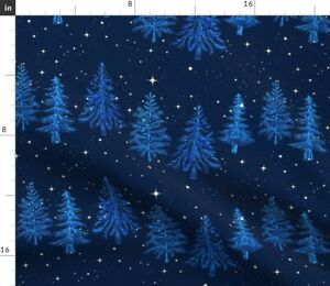 Christmas-Forest-Pine-Trees-Midnight-Stars-Snow-Spoonflower-Fabric-by-the-Yard