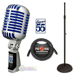Shure-Super-55-Vocal-Microphone-w-Round-Base-Stand-amp-Pig-Hog-B-amp-W-Woven-Cable