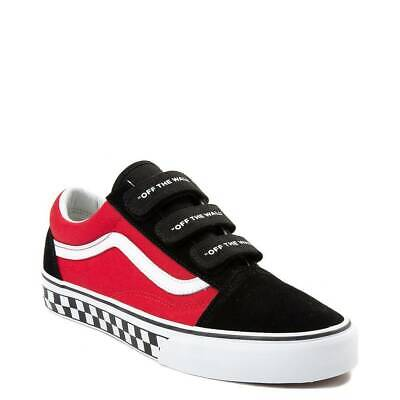 Vans Old Skool V Logo Pop Rot Schwarz Kariert Off The Wall Chex Damen  Riemen Neu | eBay