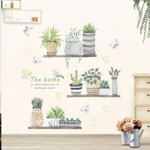 garden-plant-bonsai-flower-butterfly-wall-stickers-home-decor-room-kitchen-SR