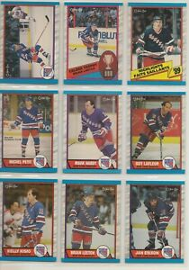 1989-90-O-Pee-Chee-NEW-YORK-RANGERS-Team-Set-16-Hockey-Cards-OPC-LEETCH-RC