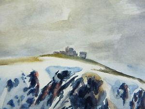 Ansicht-Berg-Schneebedeckt-1942-Unterzeichnet-Alpen-Landchaft-Mountain