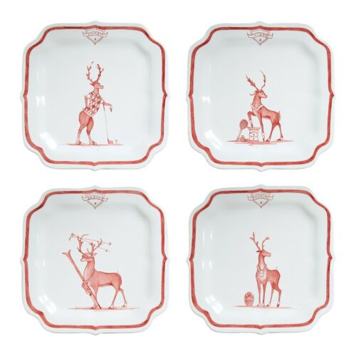 """Juliska Country Estate Reindeer Games Ruby /""""Solo Sports/"""" Party Plates Set of 4"""