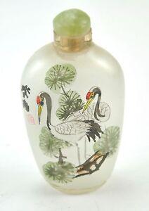 Rabbit Bunny Vintage Chinese Glass Reverse Hand Paint Peking Snuff Bottle