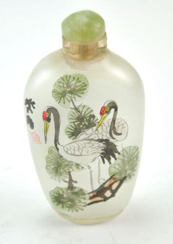 Vintage Chinese Glass Reverse Hand Paint Peking Snuff Bottle - Crane Longevity