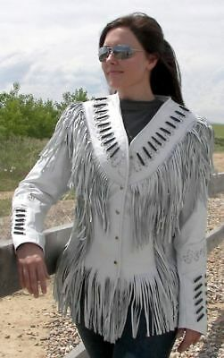 Western Women/'s Genuine Leather Jacket Made with Fringes,Bones and Cognac trim