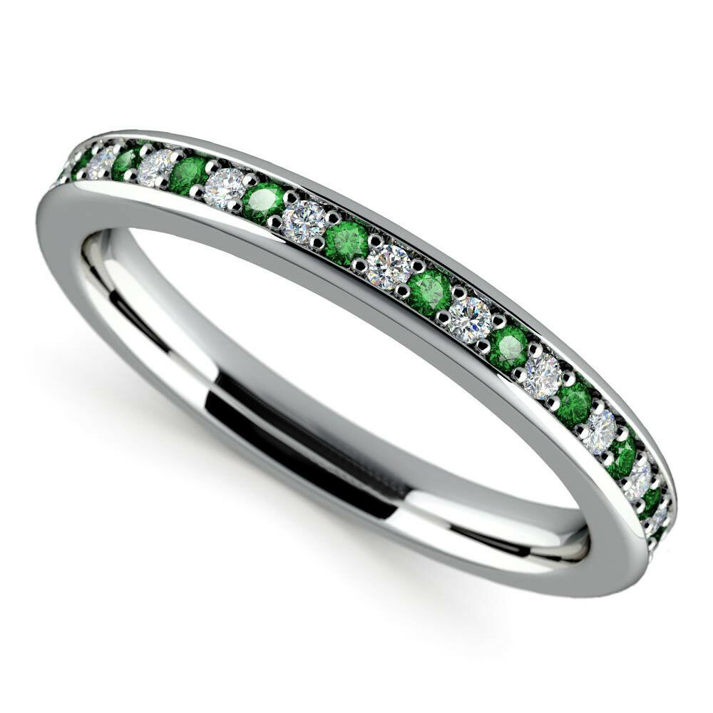 Green 0.78CT Emerald Gemstone Ring Solid 14K White gold Diamond Rings Size 6 6.5