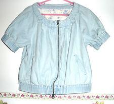 Pale Blue Denim Jean Jacket Pink Adobe Store Japan Zipper Closure Floral Ladys M