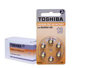Toshiba Hearing Aid Batteries Size 13 (120 Cells) Orange Tab Made In Japan