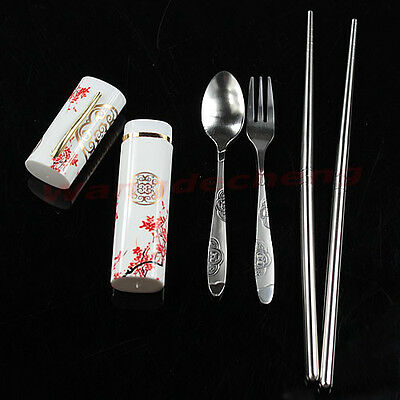 New 3in1 Stainless Steel Chopsticks Fork Spoon  China StyleTravel Tableware Set