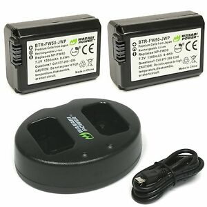 Wasabi Power 1300mAh Battery (2-Pack) and Dual USB Charger for Sony NP-FW50