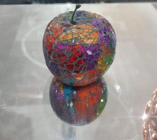 home decorative fruit display piece. Multi colour Mosaic Glass Apples ornament