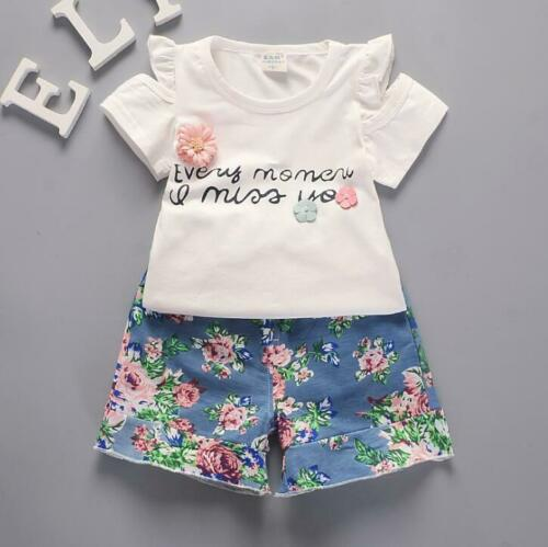 2 pcs Kids summer outfits baby Girls summer Tee short pants floral baby outfits