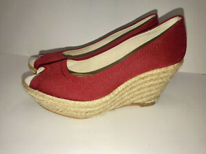 on feet shots of new concept fashion styles Details about Zara Sz 7 37 RED Wedge Espadrille SANDALS Peep Toe Jute Heel