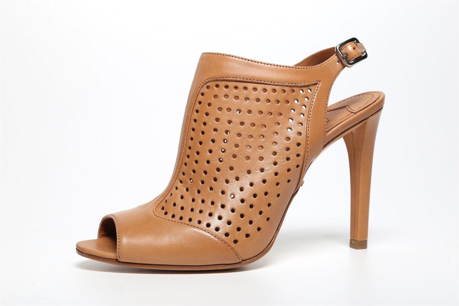Prada Women's Brown Leather Perforated Peep Toe Bootie 2899 Sz 38 EUR