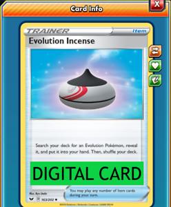 Evolution Incense 163//202 Sword /& Shield PTCGO Online Digital Card