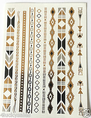 1Sheet Temporary Metallic Waterproof Tattoo Gold Silver Black Flash Tattoos cool