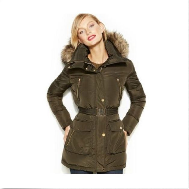 67e630fc385cd Women Michael Michael Kors Hooded Faux Fur Trim Belted Down Puffer Coat M  for sale online | eBay