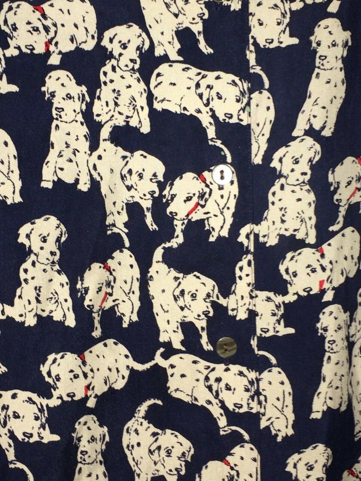 Woherren Jeans Bond 007 Dalmatians Dog Silk Blouse Top Shirt Größe Medium