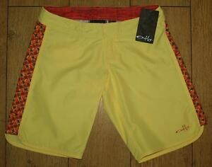 Bnwt Women's Oakley Glide Swimming Surf Board Shorts UK4 New Yellow