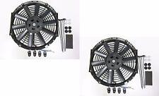 "2 x 10"" / 25cm Universal Radiator Electric Cooling Fans, Fitting Kits (Slimline)"