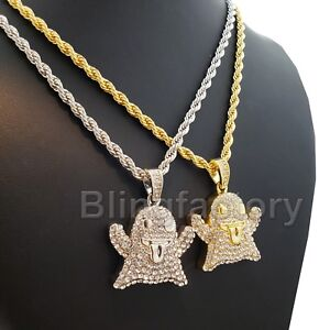 12dab2aee5022 Hip Hop Iced Fashion Emoji Ghost Character Pendant & 4mm 24