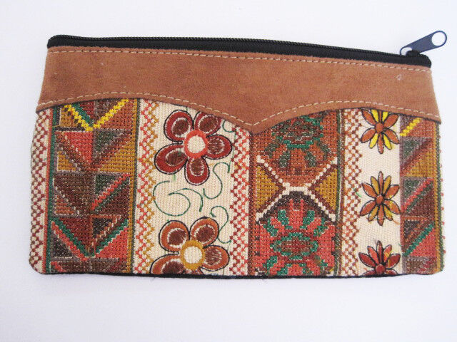 Hand embroidered Guatemala Cosmetic or Clutch Bag, leather trim dual zippers new
