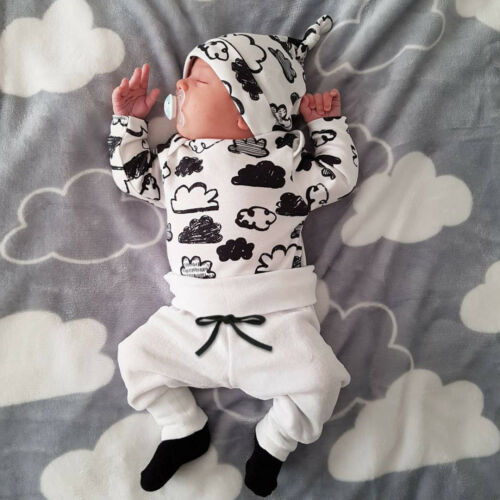 Infant Newborn Baby Girl Boy Shirt Tops+Pants Trousers+Hat 3PC Outfit Clothes US
