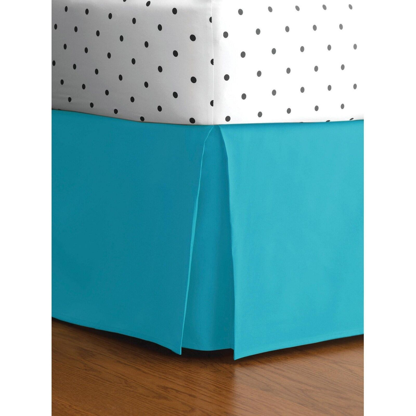 Pleated Corner   Bed Skirt   Turquoise Solid 1-Pieces 800- Thread-Count Length's