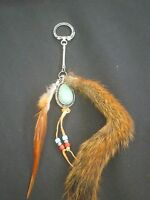 Saletaxidermy Red Squirrel Tail Key Chain / Turquoise Colored Charm & Feathers