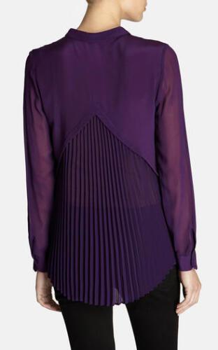 Silk Karen Shirt Lace Blouse Purple Hem 8 Peplum Pleated Millen 36 Victorian Top qRORrwt
