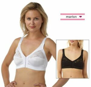 27436b31b97b2 LADIES WOMENS FRONT FASTENING BRA 2 PAIR PACK NON WIRED SOFT CUP ...