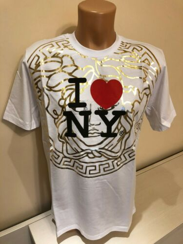 Pre-Owned VERSACE White Men T shirt I Love NY Size