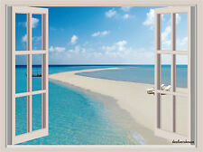 Tropical Beach Maldives WindowView Repositionable Color Wall Sticker Mural 36x26