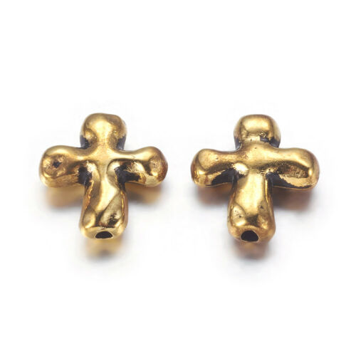 50 pcs Tibetan Alloy Beads Cross Nickel-Free Antique Golden Jewelry Making 14mm
