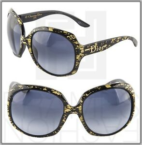dac5e96b7be CHRISTIAN DIOR Glossy 1G Oversized Round Black Gold Leaf Sunglasses ...