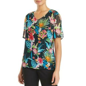 Basler-Womens-Floral-V-Neck-Day-to-Night-Blouse-Top-BHFO-5947
